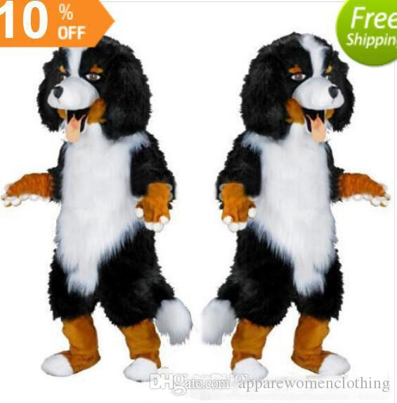 Fast design Custom White & Black Sheep Dog Mascot Costume Cartoon Character Fancy Dress for party supply Adult Size olome