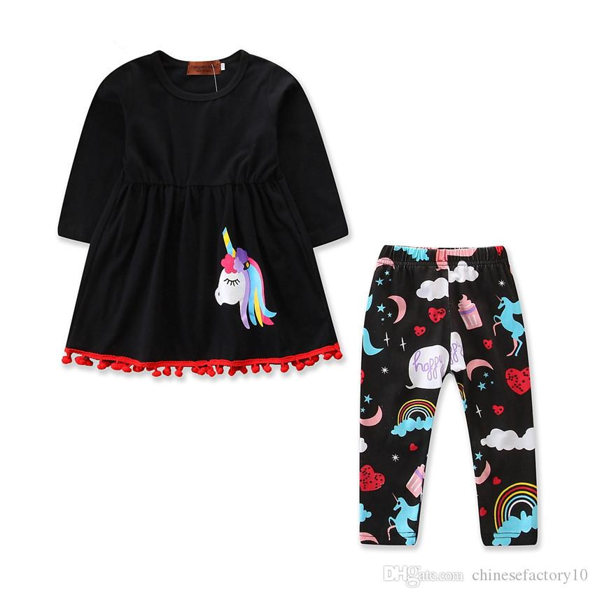 85c9e910 2019 Ins Girls Clothing Sets Baby Unicorn Dress+ Pants Long Sleeves Tassel  Toddler Suits Kids Spring Autumn Sweatshirt Clothes Sets Outfits From ...