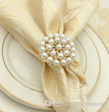 Luxurious Diamond Pearl Napkins Ringd Wedding Supplies Table Decoration Napkin Ring Gold Diamond Pearl Napkin Buckle Desktop Decoration