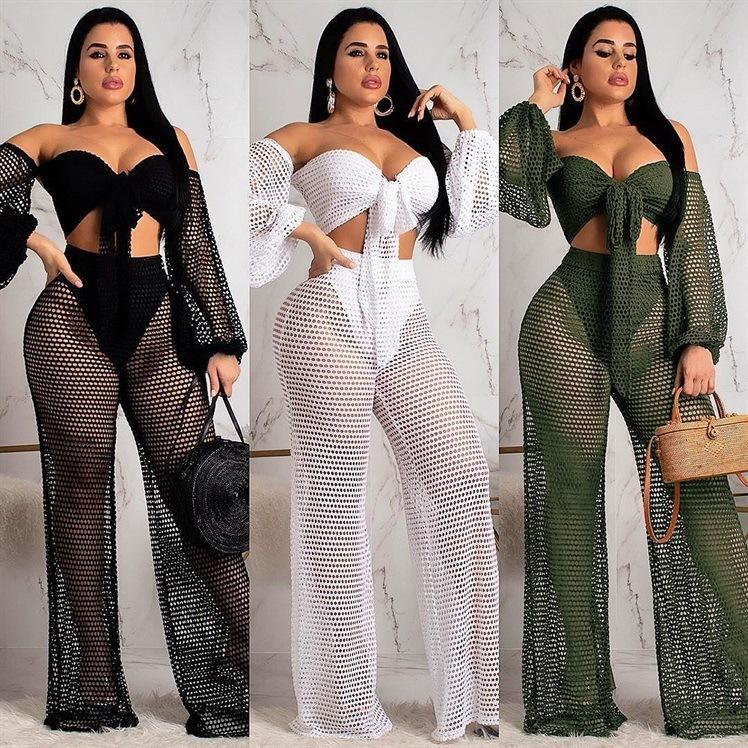 Factory real shot Europe and the United States summer hollow wrapped chest lanterns sleeves wide leg pants two sets of beachwear women