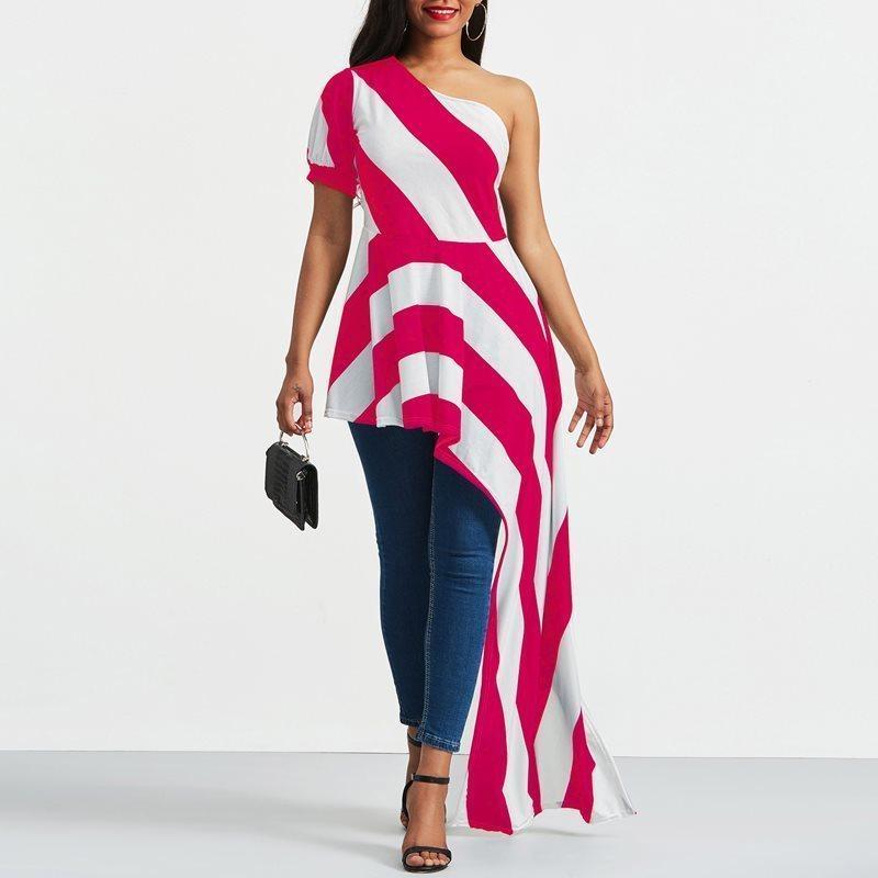 0fb5a73b7dc809 Großhandel Frauen Rose Rot Weiß Gestreifte Asymmetrische Extra Lange T Shirt  Top Schulterfrei Backless Sexy Club Streetwear T Shirts C19041501 Von  Shen8407, ...