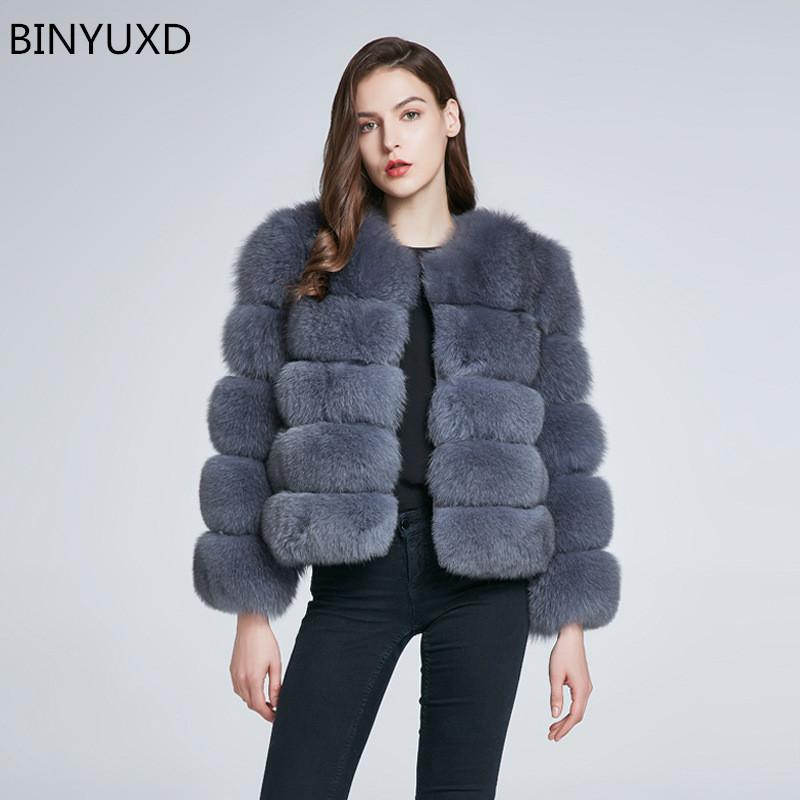 BINYUXD Winter coat new fur coat women Short furry fake fur winter outerwear pink 2018 autumn casual party overcoat female