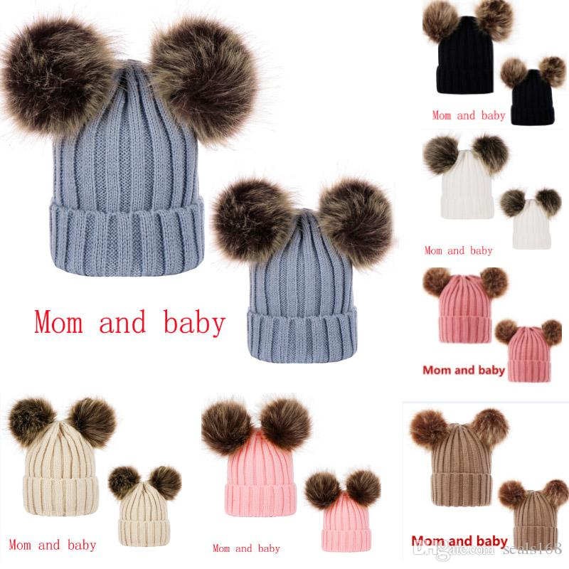 Parent-Child Knit Hat Winter Warm Pom Pom Beanie Ski Cap Head Hooded Caps For Women Girls Kids With Double Hair Ball Party Hats DHL HH9-2418