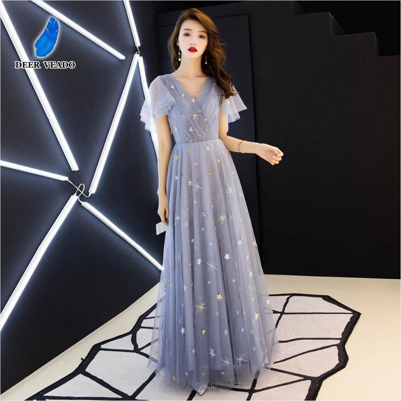 DEERVEADO MM504 A Line V Neck Prom Dresses Long 2020 New Arrival Formal Dress Evening Party Dresses Prom Gown