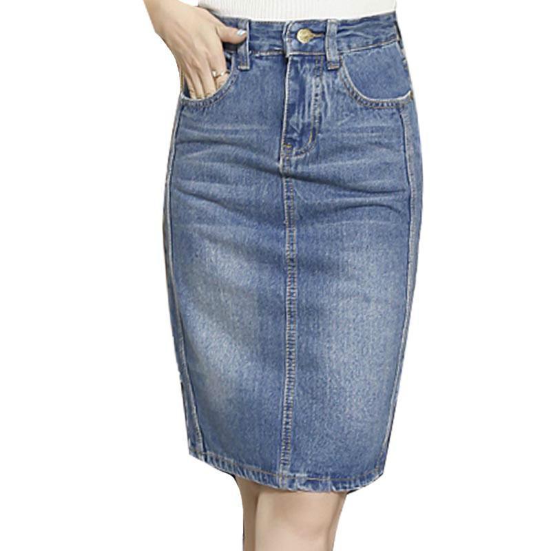 746c0cb71 Plus Size Denim Skirt 2018 Elegant Women Slim MiDi Denim Skirt Sexy back  Split Slim Jeans Women Pencil Skirt