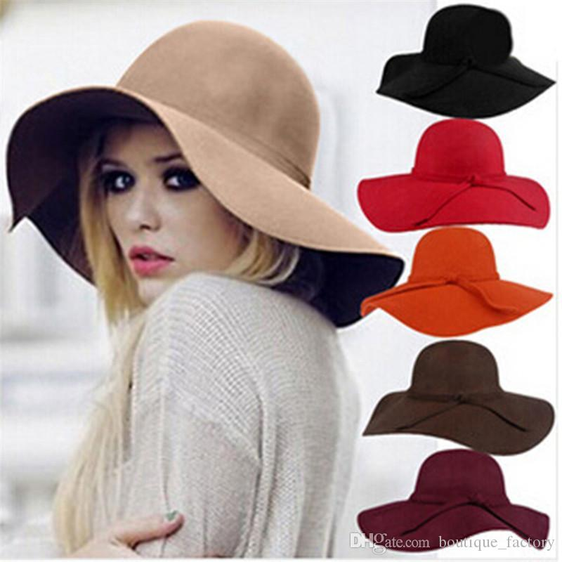 England style Retro Ladies Women outdoor sun hat Wool Felt Fedora Floppy Cloche Wide Brim hat bowknot Cap