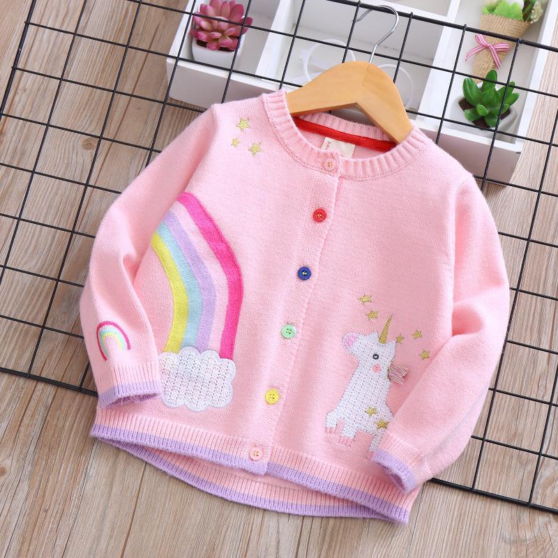 d991fab10 Baby Girls Sweaters Coat Kids Cardigans Unicorn Rainbow Embroidery ...