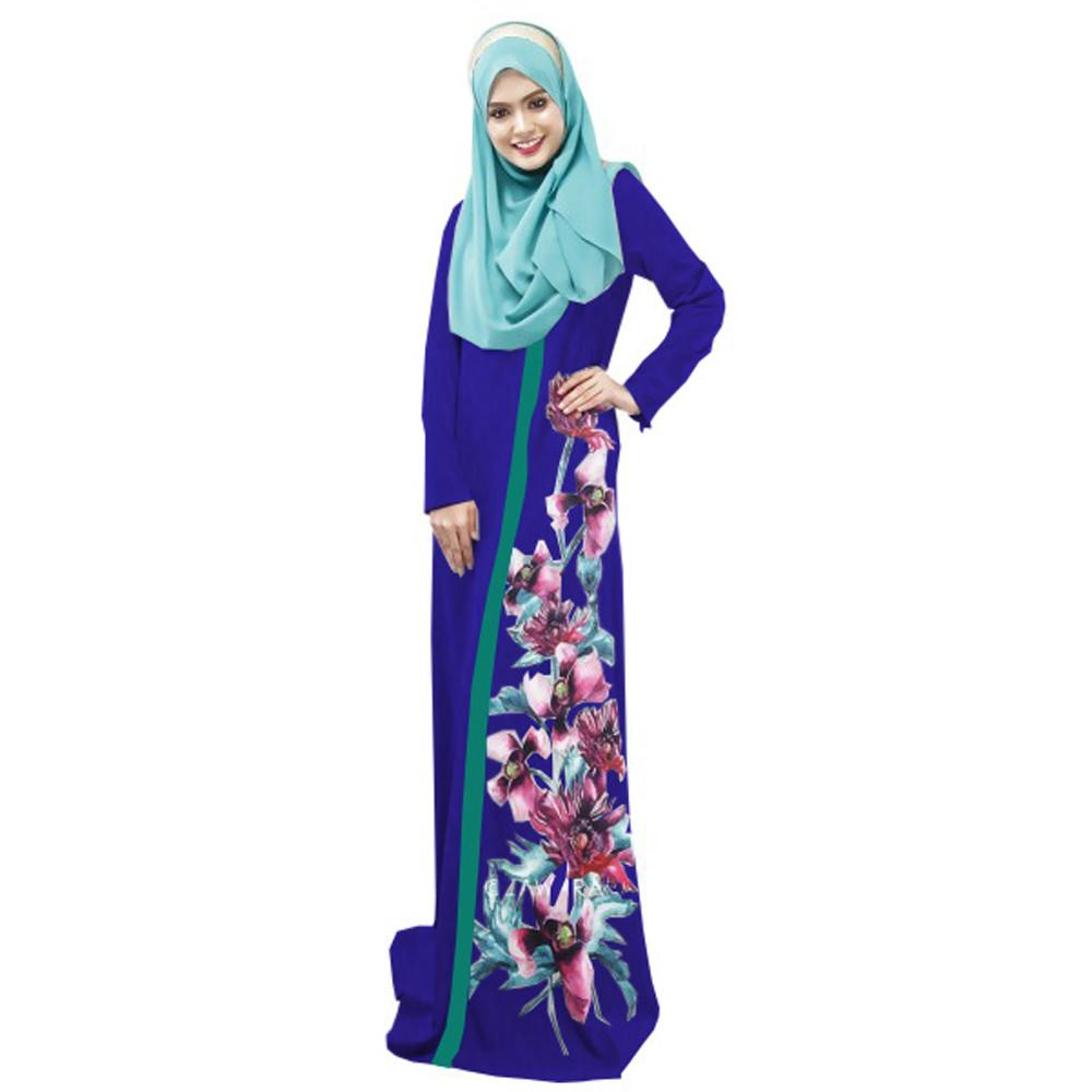 Muslim Women Islamic Printing Multicolor Pocket Middle East Long Dress party Daily summer dress for women A0410