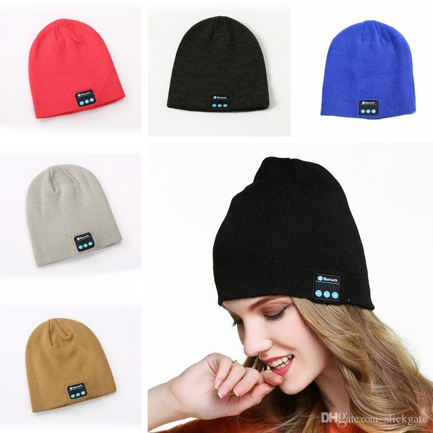 2019 6 Colors Bluetooth Music Beanie Hat Winter Warm Knit Cap Wireless Smart Caps Headset Speaker Microphone Handsfree Music Hats Gift M641F
