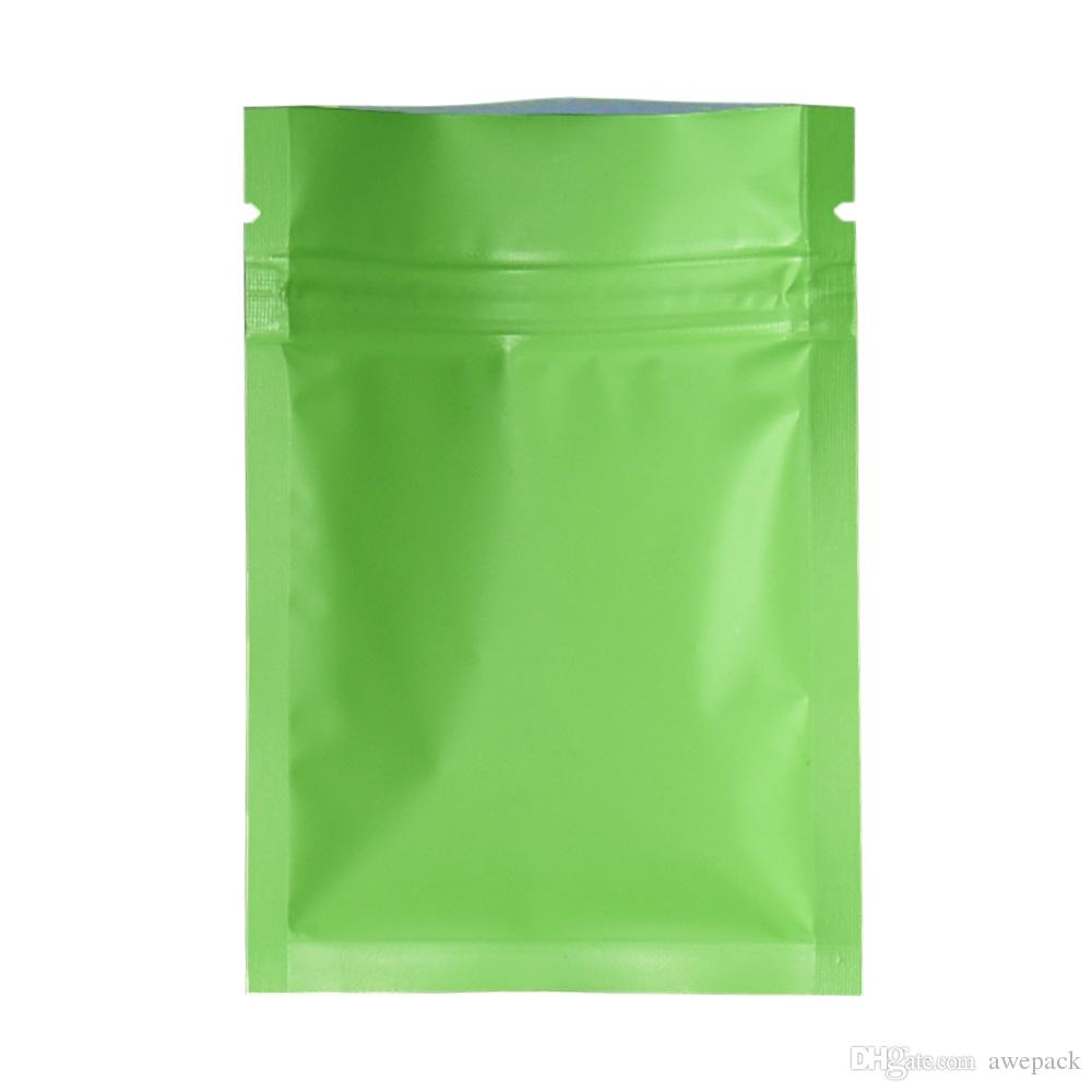 200pcs/lot 7*10cm Green Matte Flat Aluminum Ziplock Packing Bag Food Coffee Powder Smell Proof Storage Mylar Bags