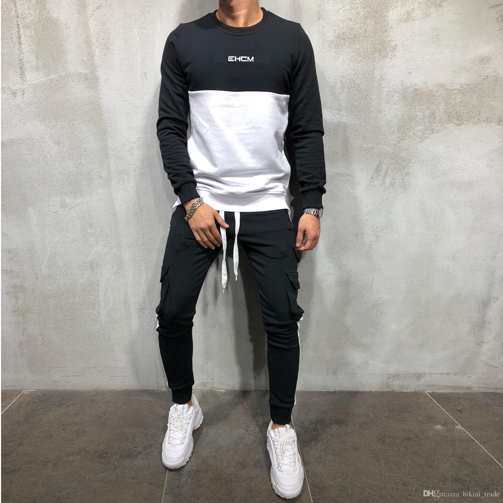 08465d7e0 Compre Nuevos Sudaderas Con Capucha De Otoño Para Hombre Tops Pullover  Conjunto De Chándal Hombre Sudadera Pantalones De Chándal Pantalones De  Moda De ...