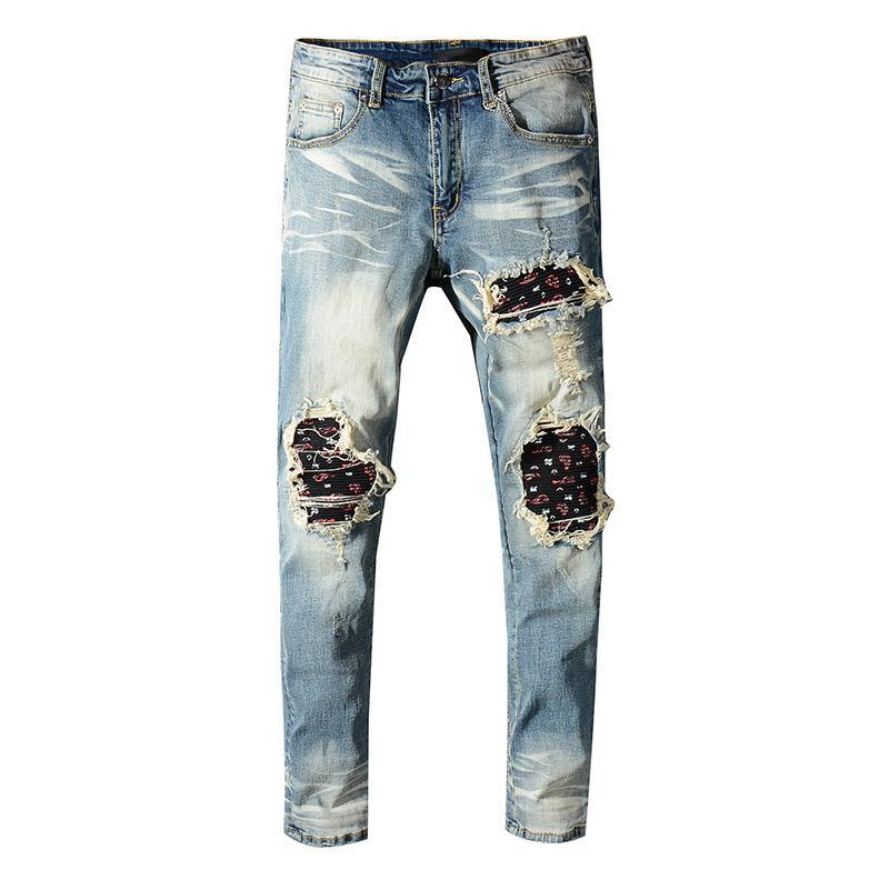 New Arrive 2019 Ami Men long Jeans Graffiti Cotton Trousers Ripped Board Slim Jean Pocket Nightclub Holes Casual jeans