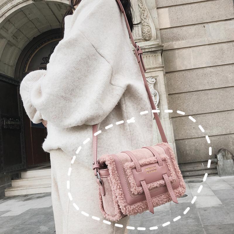 Warm Winter Fashion Ladies Square Bag 2019 New Quality Suede Women S  Designer Handbag Stitching Plush Shoulder Messenger Bags Ladies Handbags  Leather ... 275f7e4118e0b