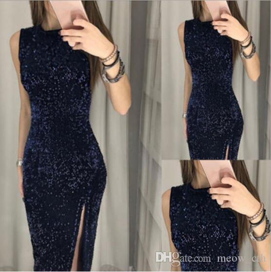 Vestido sexy vestido de lantejoulas irregulares dividir vestido na boate New Fashion Banquet Skirt of 2019 Casual Dresses