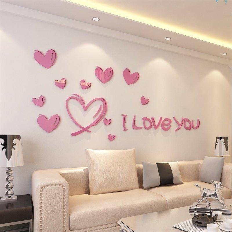 eeeab1336b4 Love is Full of Acrylic 3D Living Room Bedroom Entrance Wall Paste Creative  Jewelry Home Creative Warm Sofa Love is Full of Acrylic 3D Creative Jewelry  Home ...