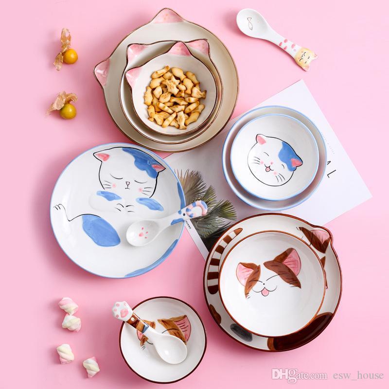 Piatti In Ceramica Per Bambini.Cucchiai Per Piatti In Ceramica Stampata Per Bambini Ins Cucchiai Per Cartoni Animati Per Bambini Piatti Di Piatti In Ceramica Per Gatti