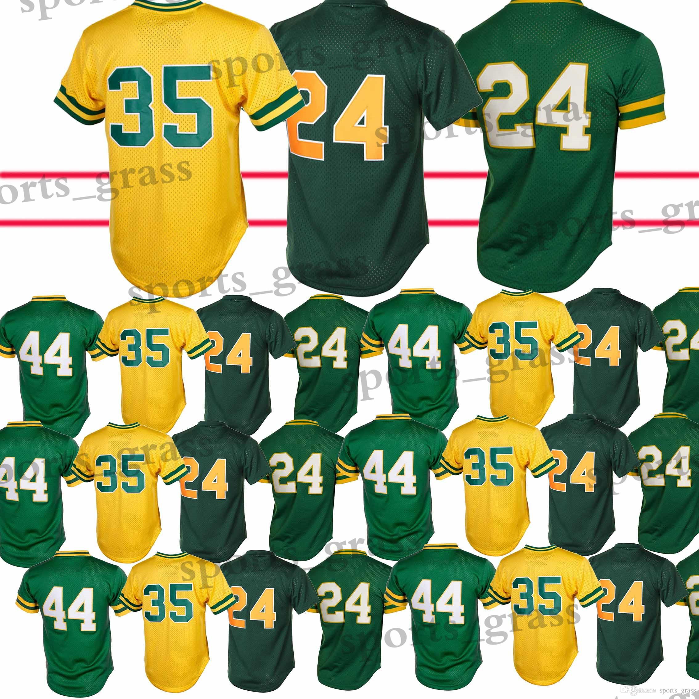 brand new 7d610 8069d Oakland Athletics Baseball Jerseys 24 Rickey Henderson 44 Reggie Jackson  Baseball Jersey Adult shirt Top quality