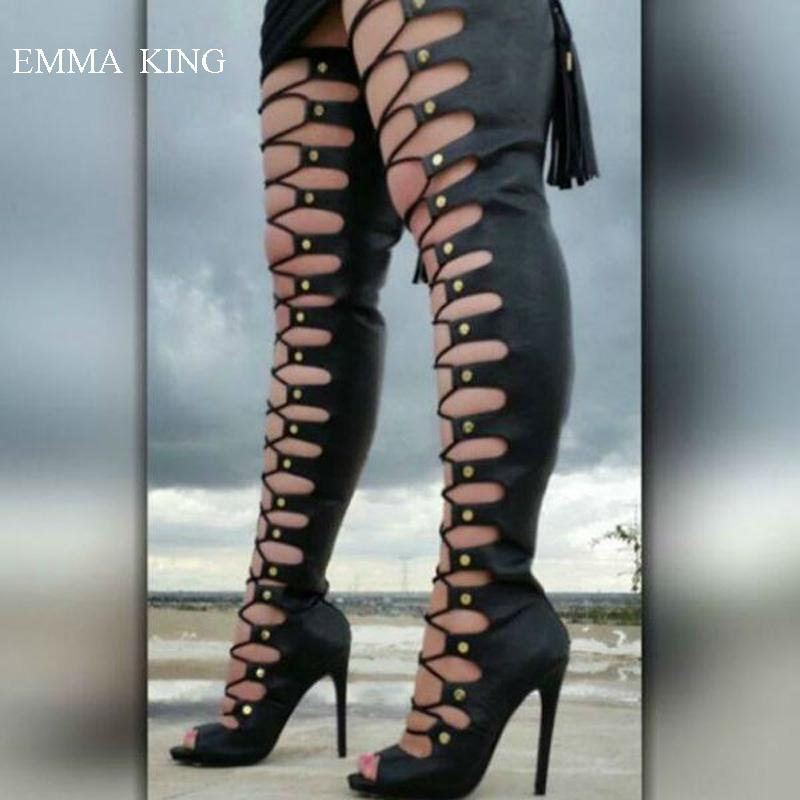 b0698be9b342 Black Over Knee Boots Women Stunning Front Cut Outs And Buckled Design Stiletto  High Heels Open Toe Long Boots Ladies Shoes Leather Boots Ladies Boots From  ...