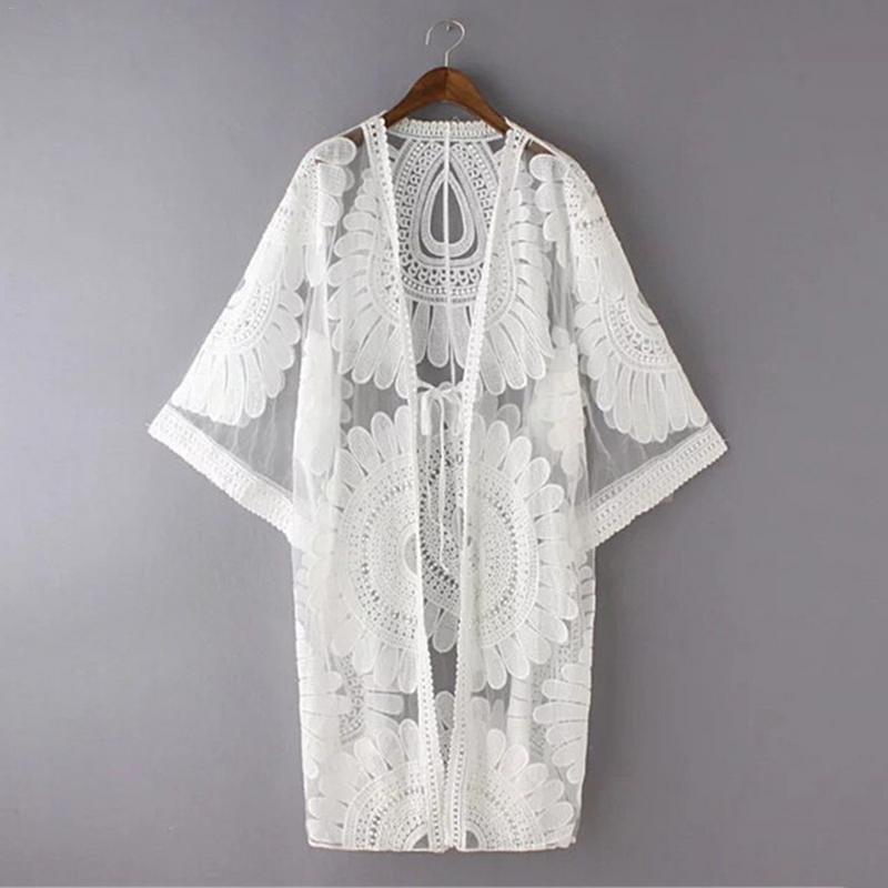 0f0738b8c 2019 Autumn New Women Chiffon Kimono Beach Lace Loose Cardigan Bikini Cover  Up Wrap Beachwear Long Shirts Streetwear From Linyicity, $45.39 | DHgate.Com