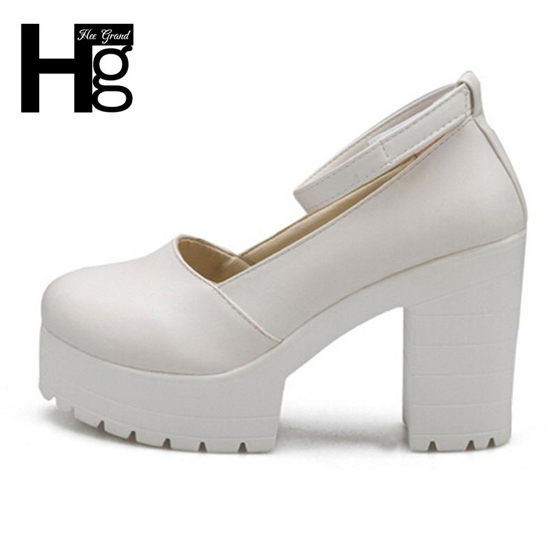 HEE GRAND Buckle Platform Thick High Heels Square Heels Pumps Spring Summer Mary Janes Ladies Shoes Woman DWD2596