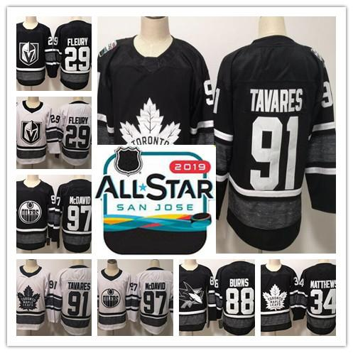 detailed look 479e2 d393f 2019 All-Star Game 34 Auston Matthews 91 John Tavares 29 Marc-Andre Fleury  Black Parley Authentic Player Hockey Jerseys embroidered Stitched