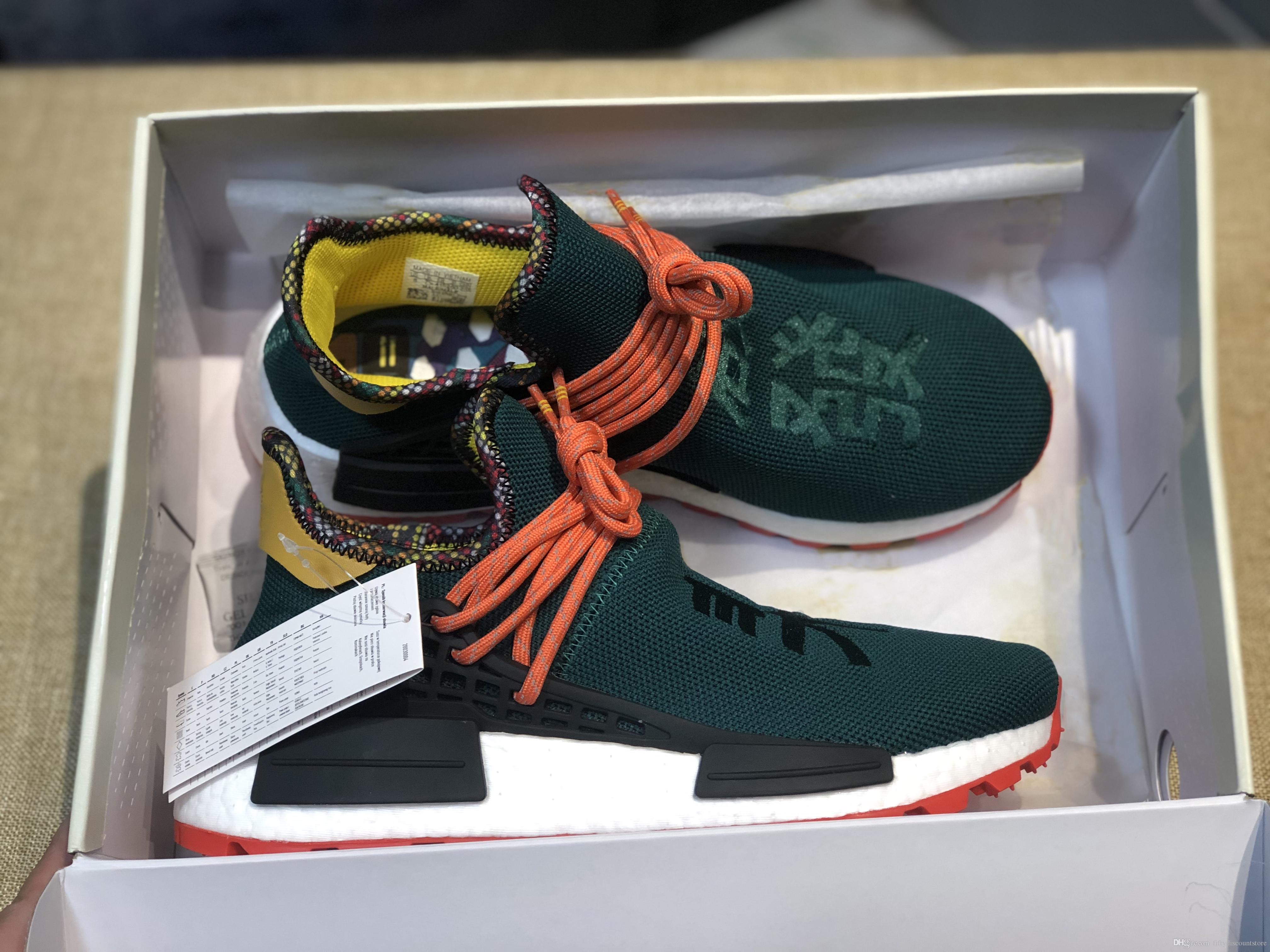 wholesale dealer 05880 89364 Top Quality 2019 Humanrace Hu Inspiration Pack running shoes real basf  bottom top quality Pharrell Williams trainer Sneakers with box 36-45