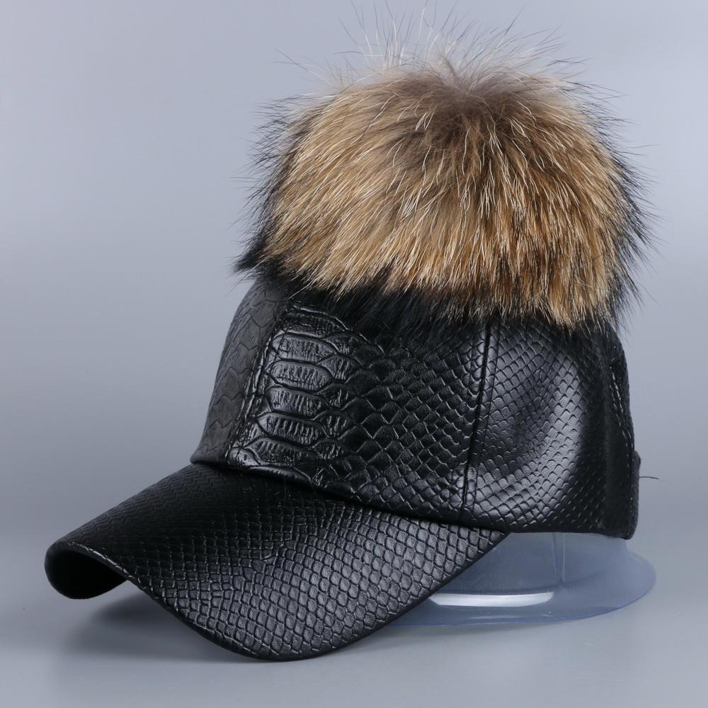 15fed8f67bf 2019 2016 New Fashion Women Girl Popular Autumn Winter Luxury PU Leather  Baseball Cap Snapback Hat With Large Genuine Raccoon Pompoms From  Sportblue
