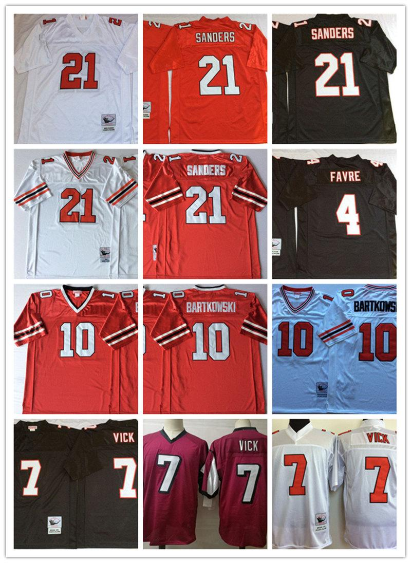 new concept d2cd7 00efb Mens NCAA #4 Brett Favre #7 Michael Vick #10 Steve Bartkowski Jersey #21  Deion Sanders Vintage Football Jersey S-3XL
