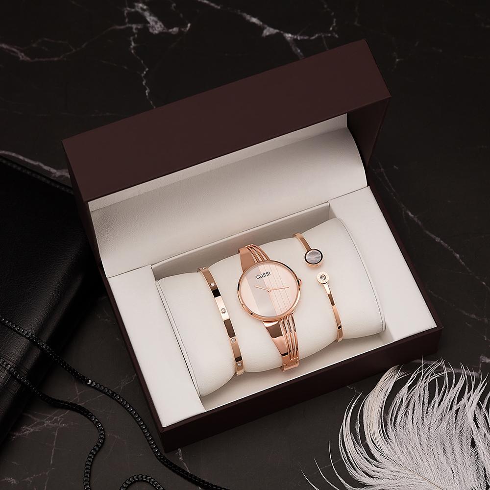 6c91034ae5b8 Compre Cussi Marca Relojes De Pulsera Mujeres 3 Unids Moda Pulseras De  Acero Inoxidable Con Gran Caja De Relojes Set Para Novia Regalo De Oro Rosa  Caliente ...
