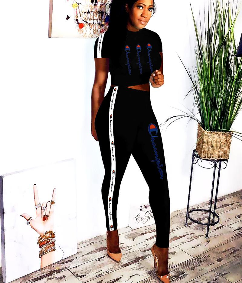 b5ac40154083 2019 Embroidery Champions Letter Crop T Shirt Pants Tracksuit Women Summer  Outfit Webbing Striped Short Sleeves Sports Suit Sportswear SALE C3292 From  ...
