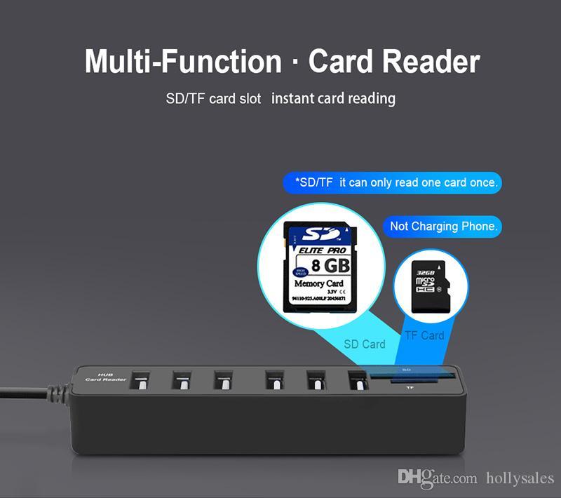 HUB3.0 USB2.0 HUB USB разветвитель Мульти HUB2.0 Авв SD TF Card Reader Multiple для компьютера ноутбука использования