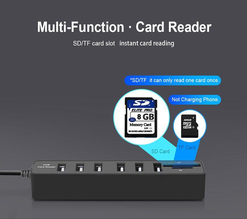 Yeni USB HUB 3.0 Çok USB Splitter HUB2.0 Hab SD TF Kart Okuyucu Bilgisayar Dizüstü kullanımı için Çoklu