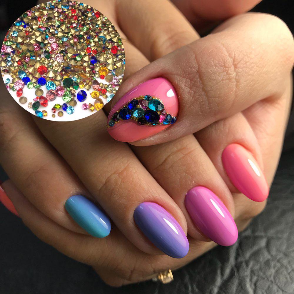 20grams 1 Box Mixed Colorful Rhinestones For Nails 3D Crystal Stones ... b173de8b698d
