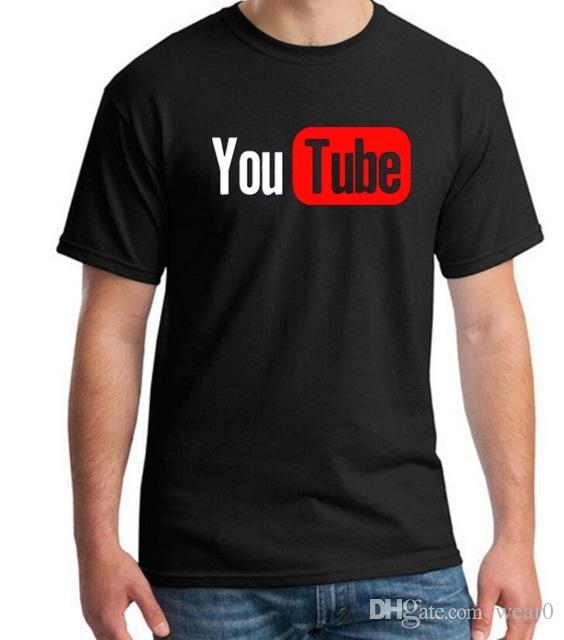 2019 Mens Designer T Shirts Youtube Logo Black Printed T Shirt Man With 4XL  You Tube T Shirt Luxury Brand In Tee Shirt Summer Tee Shirt Site Online Buy  T ... 72ab462f06dd