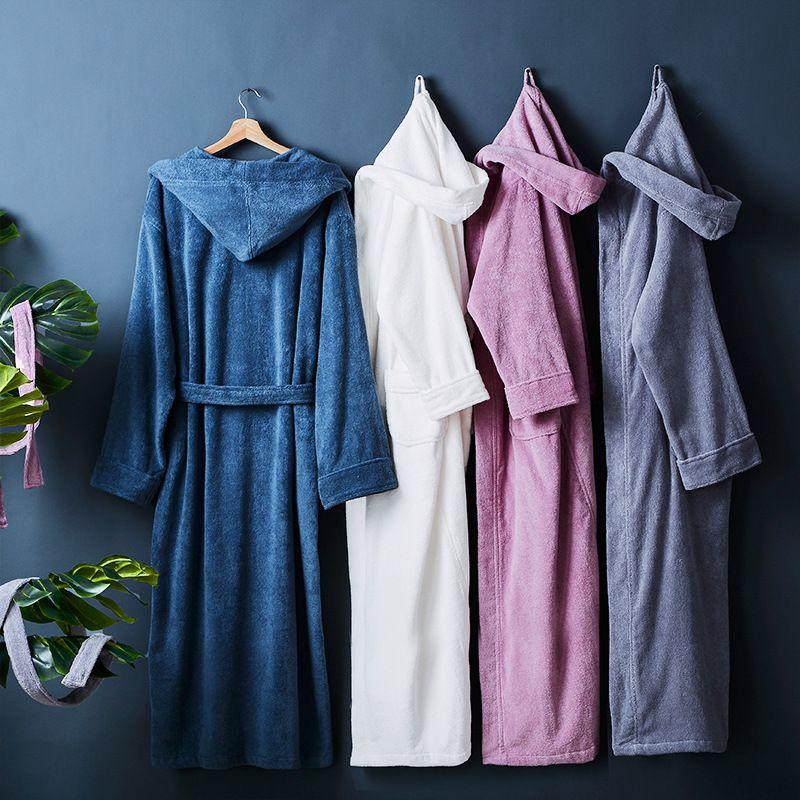 eb00f6dbcf 2019 Five Star Hotel Winter Thick Pure Cotton Bathrobes Sleepwear Robes  Unisex Long Sleeve Absorbent Terry Bathrobe Hooded Pijamas From Dufflecoat