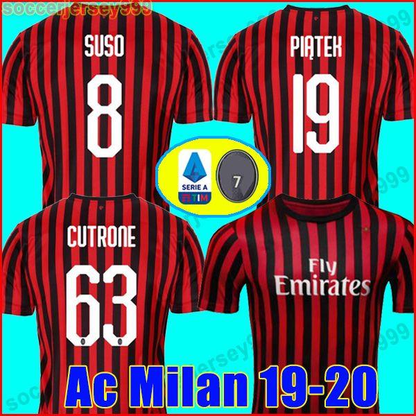 6d83c64243d825 Acquista Thailandia 2019 2020 AC Milan Maglia Da Calcio Soccer Jersey  Football Shirt ANDRE SILVA CONTI KESSIE RODRIGUEZ CALHANOGLU Maglia Da  Calcio 19 20 ...