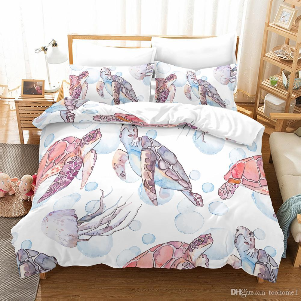 Pink Turtle 3Pcs Duvet Cover Set 2019 Sale Microfiber Fabric Printed Cactus Twin Queen King Home Duvet Covers Animal Print Bedding Set