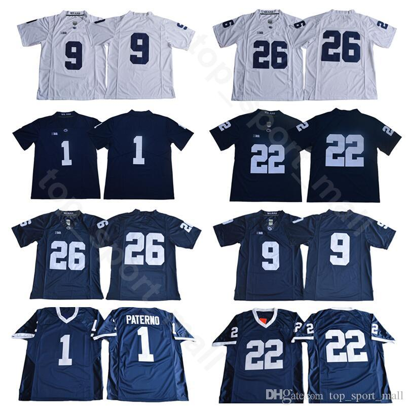 huge selection of 1e4f2 aa3ee PSU College Penn State Nittany Lions Football 26 Saquon Barkley Jersey 9  Trace McSorley 1 Joe Paterno 22 Akeel Lynch Navy Blue White