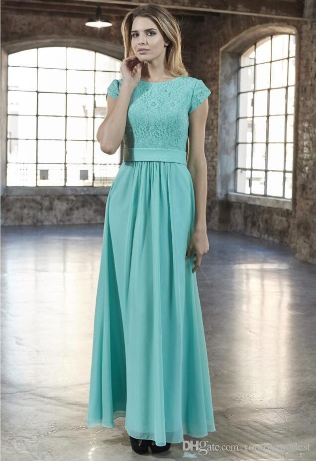 b60cfc67af 2019 New Mint Lace Chiffon A-line Long Modest Bridesmaid Dresses With Cap  Sleeves Floor Length Light Green Modest Maids of Honor Dress