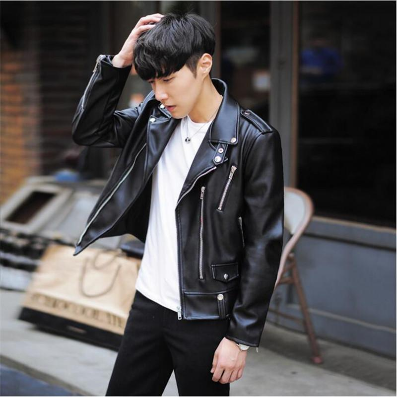New Fashion PU Leather Jacket Spring Brand Men Black Solid Mens Coats Trend Slim Fit Youth Motorcycle Jacket