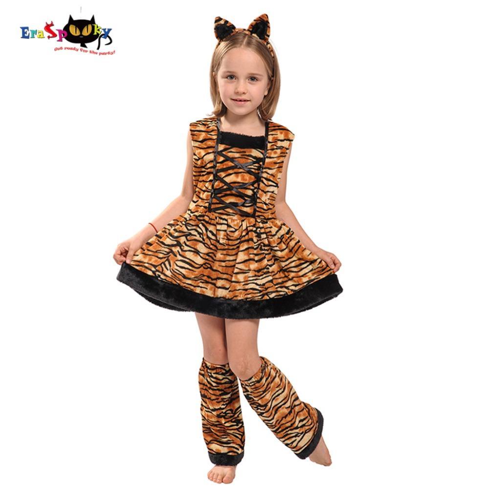 Halloween Kleider Fur Kinder.Eraspooky Carnaval Kostume Fur Kinder Nette Stirnband Kinder Cosplay Schone Halloween Kostum Tiger Kostum Kleid Fur Madchen
