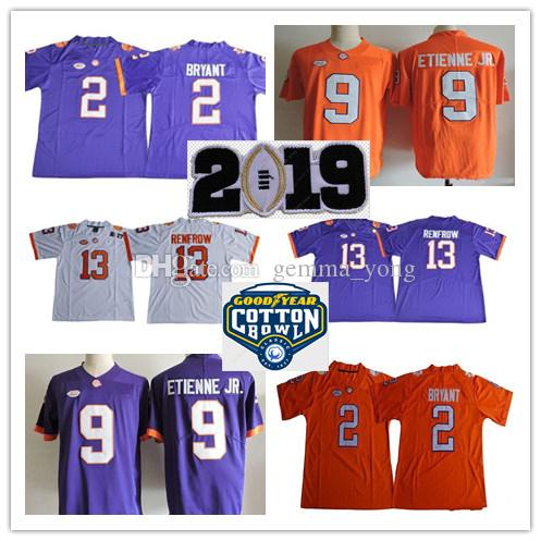 2019 Hombres Clemson Tigers College 16 Trevor Lawrence 2 Kelly Bryant 9 Travis Etienne Jr. 13 Hunter Renfrow Watson Cotton Bowl Orange Jerseys