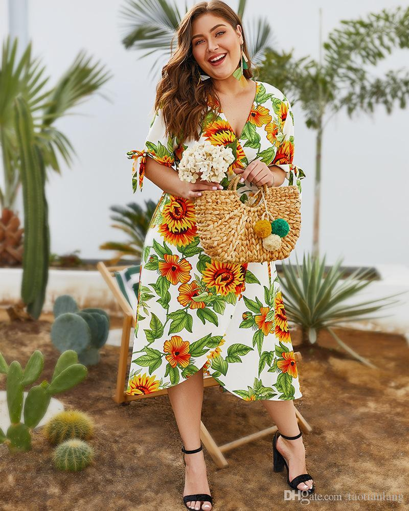Plus Size Boho Sunflower Print Big Size Dress Women Summer Sash Short Midi  Female Sundress Elegant Holiday Beach Vestido J190566