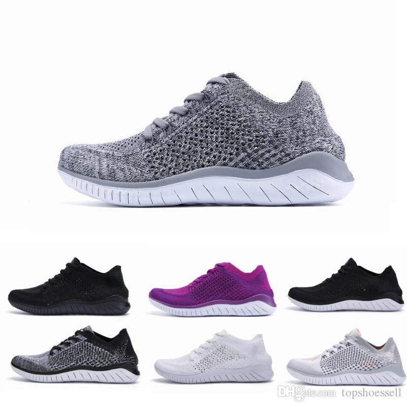 2019 Nike Free Rn Flyknit 2018 Entrenadores Hombres Diseñadores de cojines Zapatillas de deporte Hombre Negro Deportes Senderismo Jogging Shocks