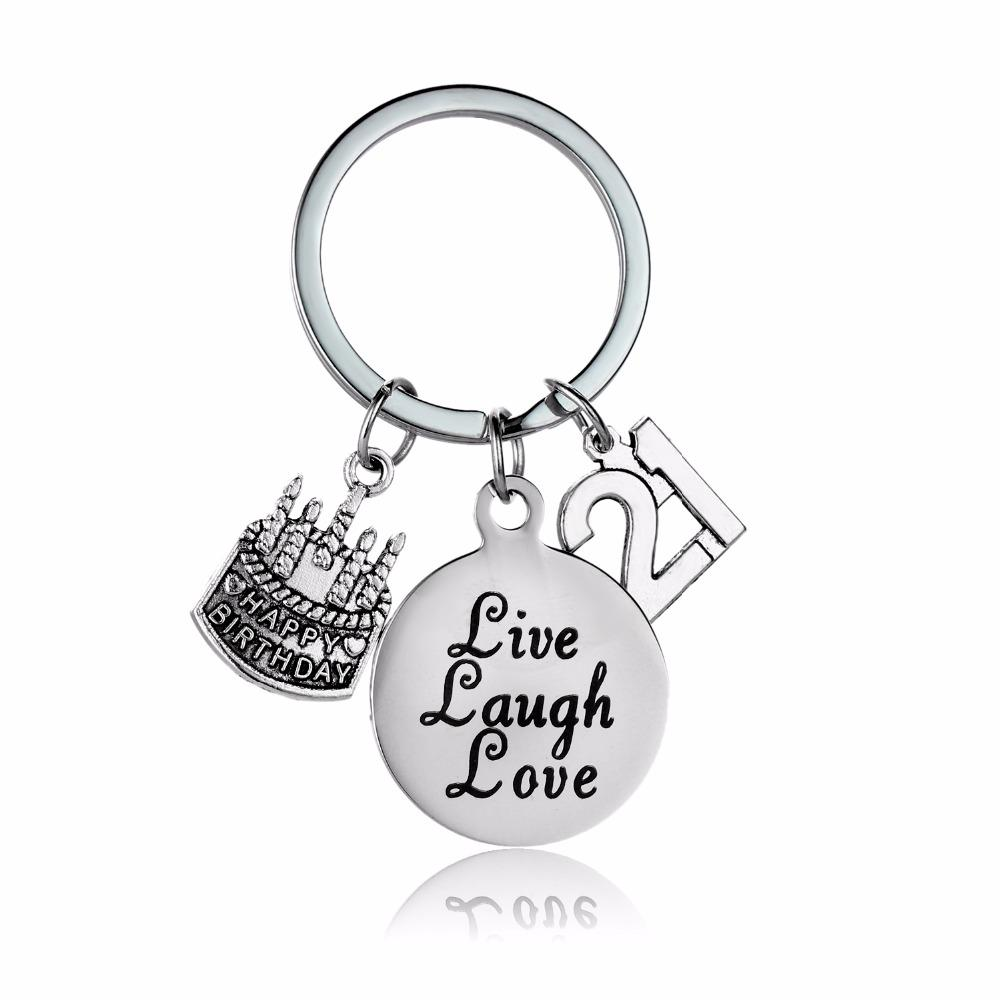 2019 Stainless Steel 21 Birthday Cake Live Laugh Love Keychain Women Men  Keyring Best Friend Family Jewelry Gift Key Chains From Shuangyin004 f04119ae0