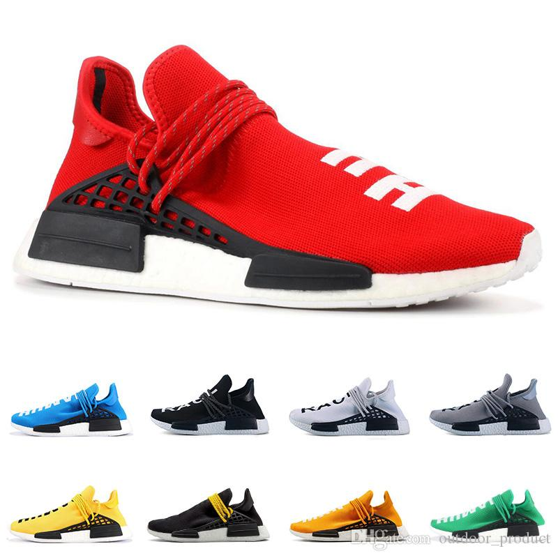 huge selection of c893d ee6bb New PW Human Race NMD PHARRELL WILLIAMS men women running shoes yellow red  blue black white mens trainer breathable sports sneakers