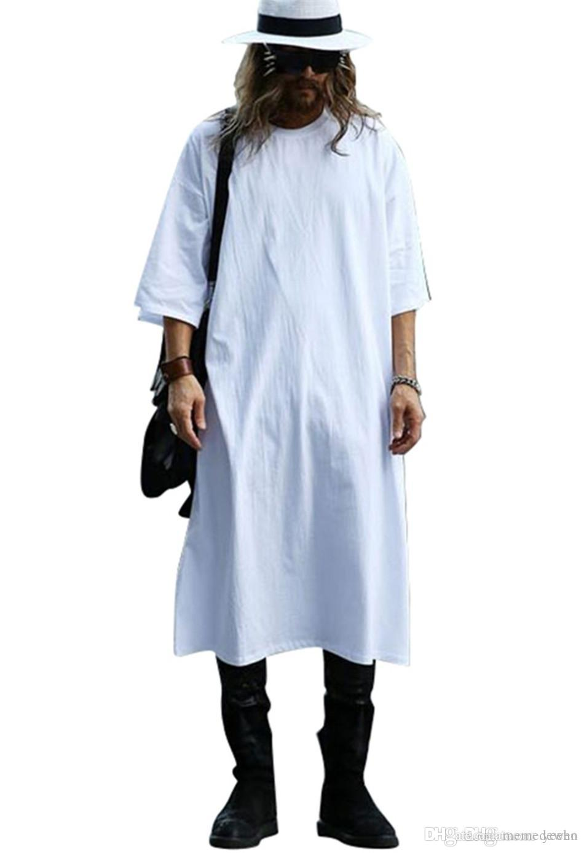 0bfa3291 Long Tee Shirts For Men O-Neck Extra Long Line Tops Tees Solid White Color T -shirt Men Big Size Men T Shirts M3-563 Men's Tees Men's T-Shirts T-Shirts  ...