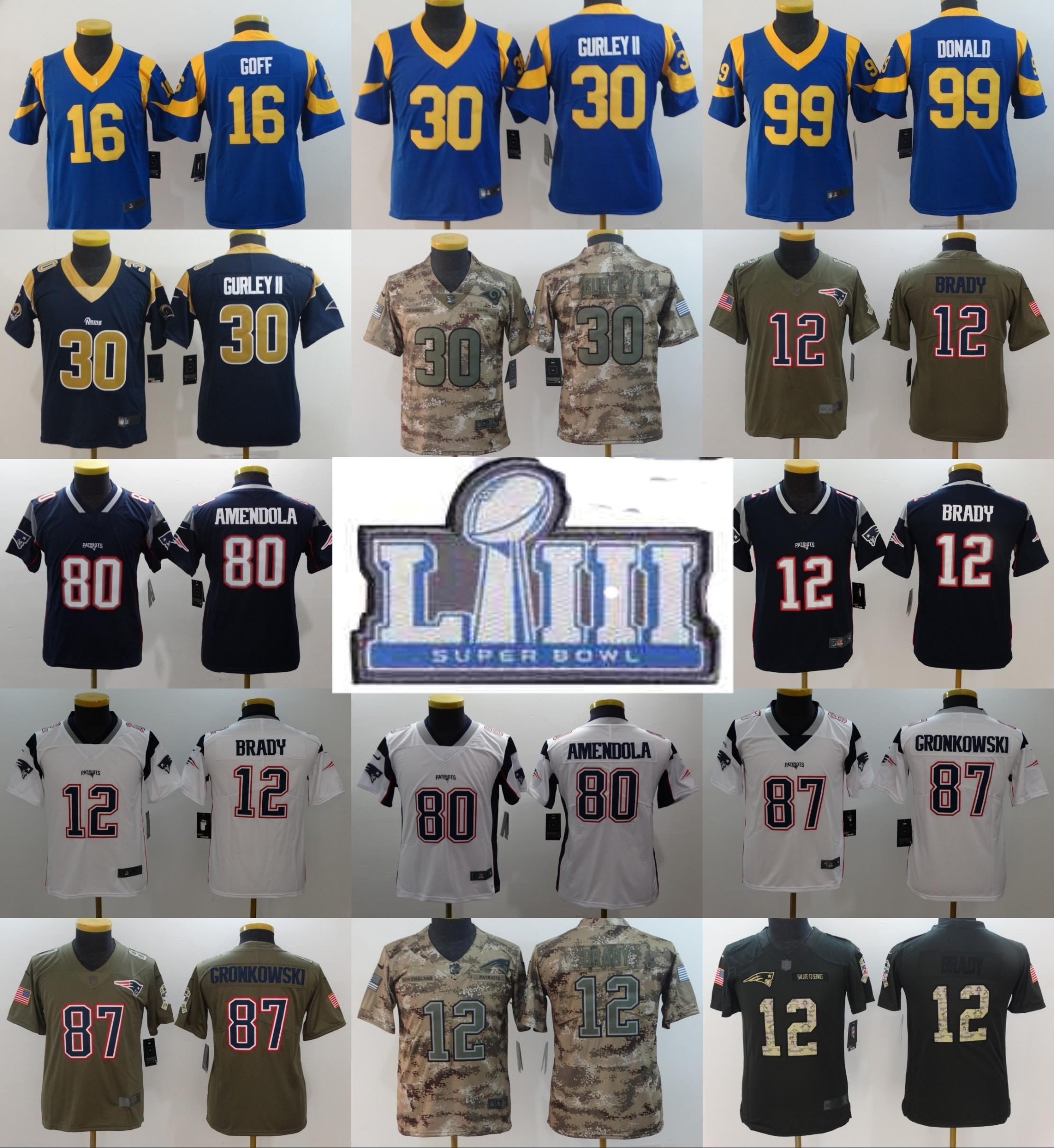 outlet store 5e260 f3219 Youth 12 Tom Brady Patriots 80 Danny Amendola 87 Rob Gronkowski 30 Todd  Gurley 16 Jared Goff 99 Aaron Donald Jersey 2019 Super Bowl Rams