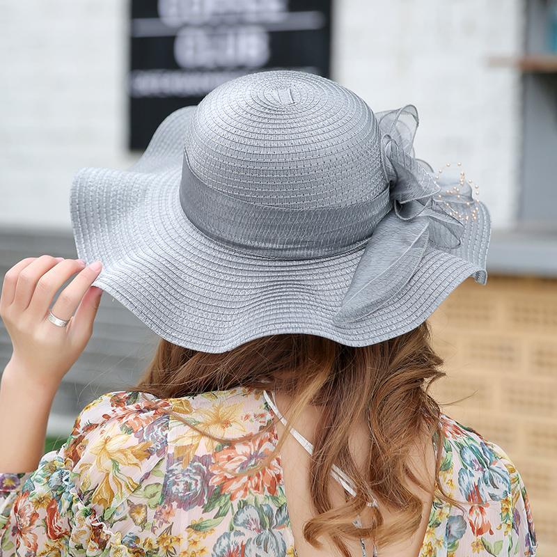 2019 Summer Sun Hats For Women Bow Beach Hat Casual Wide Brim ... aa104981410