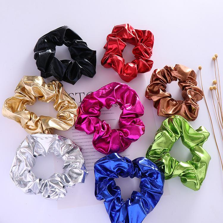 89101ce7e5ac5 Free shipping Fashion women pretty solid Hair bands cute metallic hair  scrunchies girl's Tie Accessories Ponytail Holder